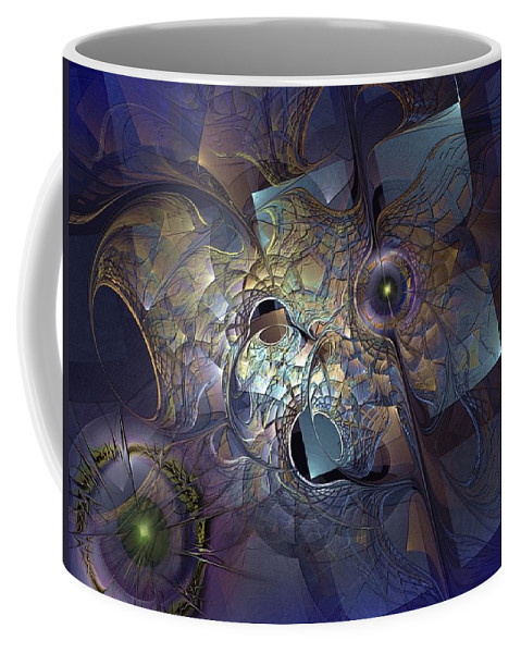 Abstract Coffee Mug featuring the digital art Ancestral Monolith by Casey Kotas