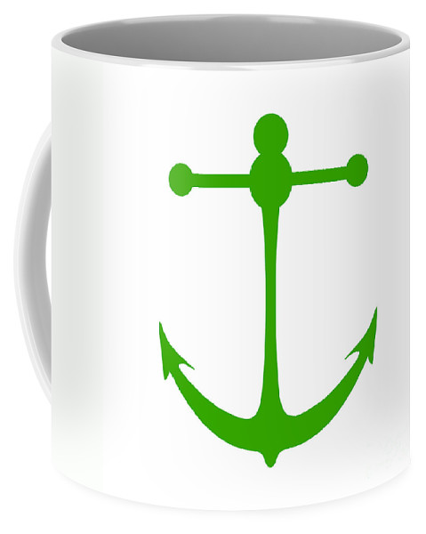 Graphic Art Coffee Mug featuring the digital art Anchor In Green And White by Jackie Farnsworth