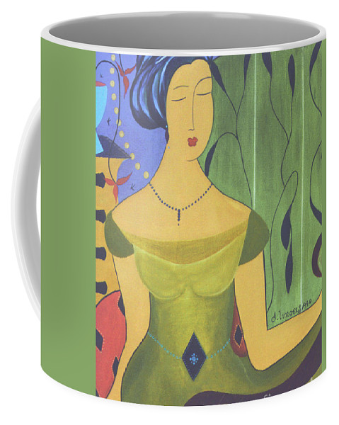 #female Coffee Mug featuring the painting Ancient Beauty by Jacquelinemari