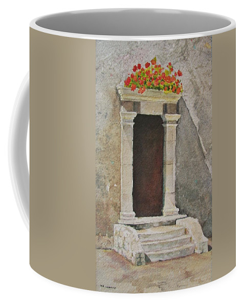 Antique Doorway Coffee Mug featuring the painting Ancient Doorway by Mary Ellen Mueller Legault