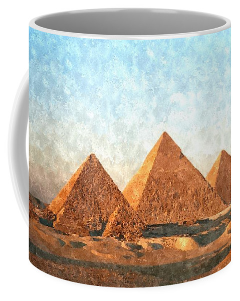 Ancient Coffee Mug featuring the painting Ancient Egypt The Pyramids At Giza by Gianfranco Weiss