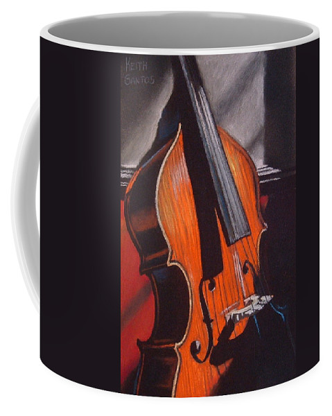 Upright Bass Coffee Mug featuring the pastel And Daddy Played Bass by Keith Gantos
