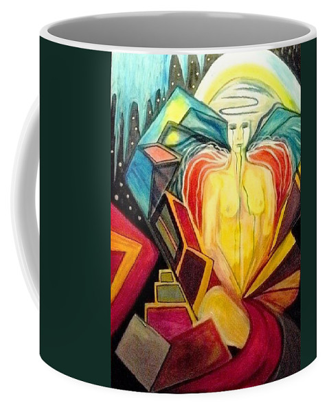Angels Coffee Mug featuring the painting Weep For The Children by Carolyn LeGrand