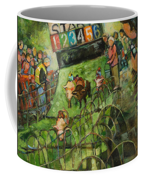Jen Norton Coffee Mug featuring the painting And They Are Off by Jen Norton