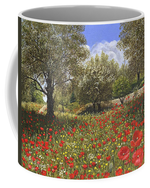 Landscape Coffee Mug featuring the painting Andalucian Poppies by Richard Harpum