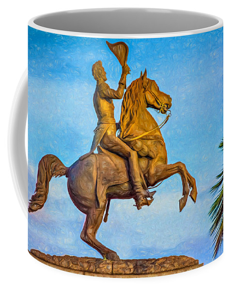 French Quarter Coffee Mug featuring the photograph Andrew Jackson - Paint by Steve Harrington