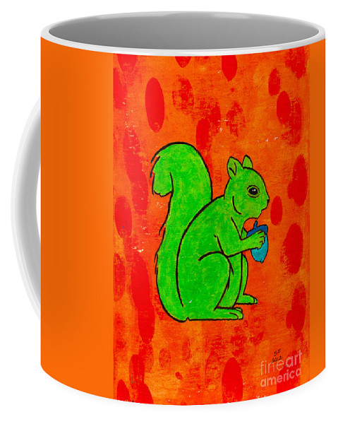 Coffee Mug featuring the painting Andy's Squirrel Green by Stefanie Forck