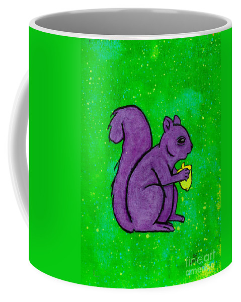 Coffee Mug featuring the painting Andy's Squirrel Purple by Stefanie Forck