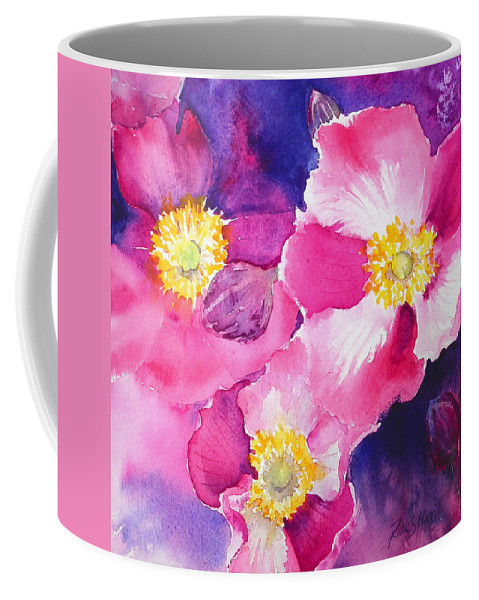 Pink Coffee Mug featuring the painting Anemones by Ruth Harris
