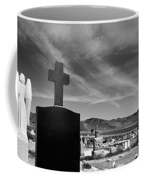 Angel Coffee Mug featuring the photograph Angel And Cross by Mick Burkey