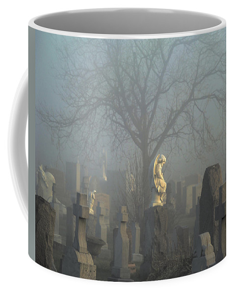 Blue Coffee Mug featuring the photograph Angel Mist Cemetery by Gothicrow Images