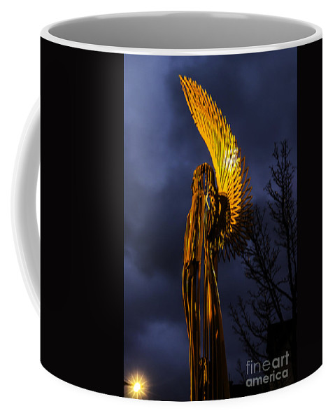 Angel Of Bargoed Coffee Mug featuring the photograph Angel Of The Morning by Steve Purnell