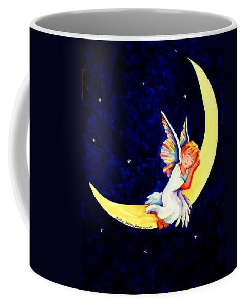 Angel Coffee Mug featuring the painting Angel On The Moon by Sally Storey Jones