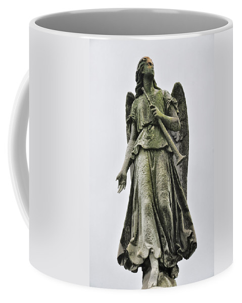 Angel Coffee Mug featuring the photograph Angel With Trumpet by Bill Cannon