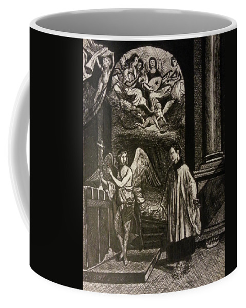 Coffee Mug featuring the painting Angels And Saints by Jude Darrien