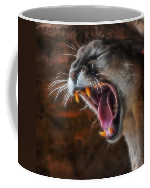 Mountain Lion Coffee Mug featuring the digital art Angry Cougar by Ernie Echols