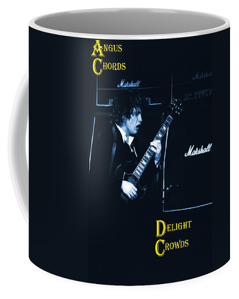 Angus Young Coffee Mug featuring the photograph Angus Chords Delight Crowds In Blue by Ben Upham
