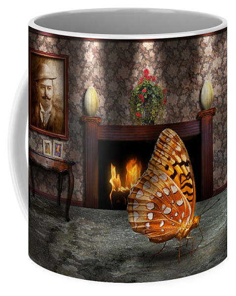 Butterfly Coffee Mug featuring the photograph Animal - The Butterfly by Mike Savad