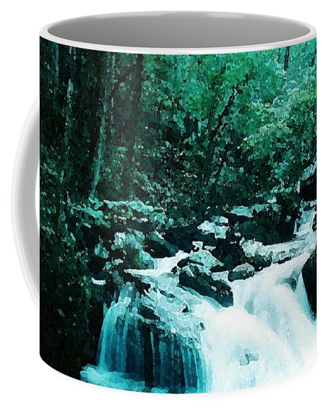 Anna Ruby Falls Coffee Mug featuring the photograph Anna Ruby Falls Watercolor Effect by Laurie Eve Loftin