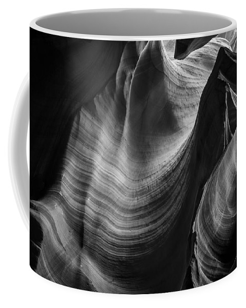 3scape Photos Coffee Mug featuring the photograph Antelope Canyon Waves Black And White by Adam Romanowicz