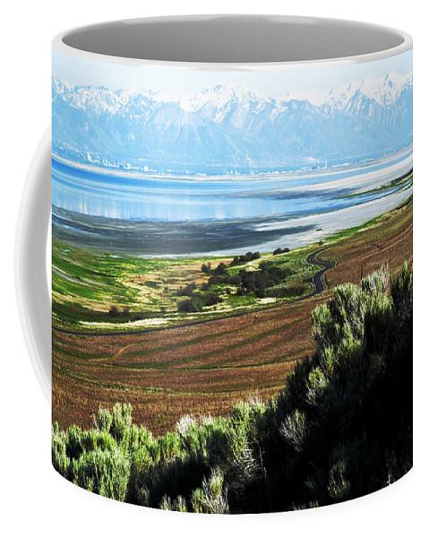 Antelope Island Coffee Mug featuring the photograph Antelope Island Wasatch Mountains Utah by Bob Pardue