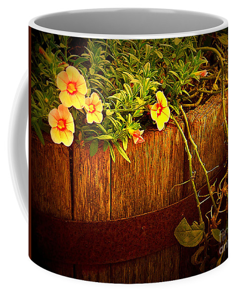 Flowers Coffee Mug featuring the photograph Antique Bucket With Yellow Flowers by Miriam Danar