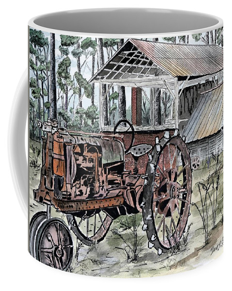 Tractor Coffee Mug featuring the painting Antique Farm Tractor  by Derek Mccrea