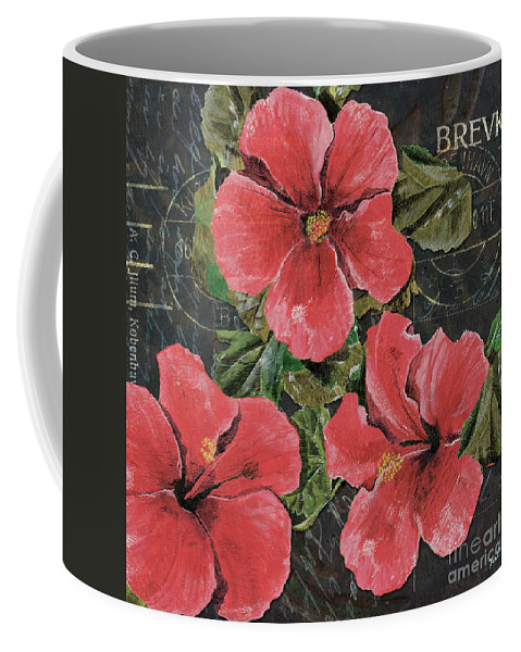 Pink Coffee Mug featuring the painting Antique Hibiscus Black 3 by Debbie DeWitt