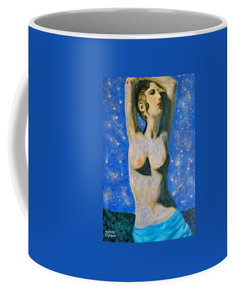 Augusta Stylianou Coffee Mug featuring the painting Aphrodite by Augusta Stylianou