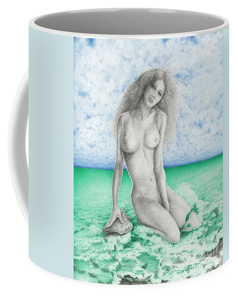Drawing Coffee Mug featuring the drawing Aphrodite by Michael Stanford