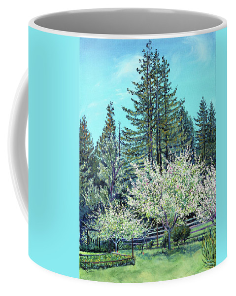 Northern California Landscape Painting Coffee Mug featuring the painting Apple Blossoms And Redwoods by Asha Carolyn Young