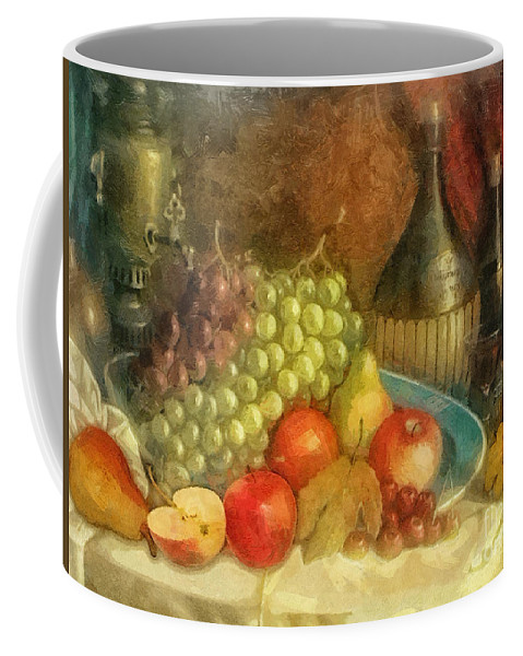 Apples And Grapes Coffee Mug featuring the painting Apples And Grapes by Mo T