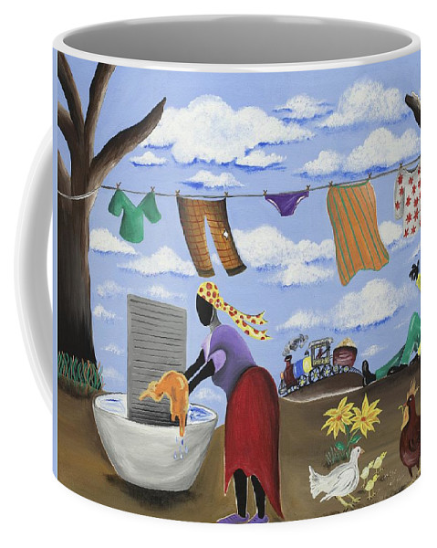 Gullah Art Coffee Mug featuring the painting Approaching The Finish Line by Patricia Sabree