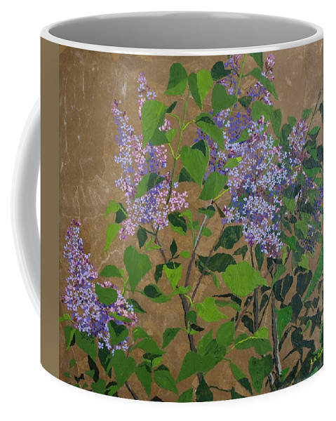 Lilacs Coffee Mug featuring the painting April Lilacs by Leah Tomaino