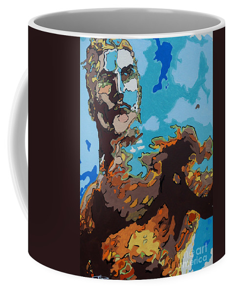 Aquaman Coffee Mug featuring the painting Aquaman - Reflections by Kelly Hartman
