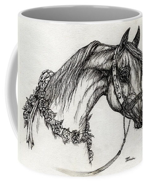 Horse Coffee Mug featuring the drawing Arabian Horse Drawing 22 by Angel Ciesniarska