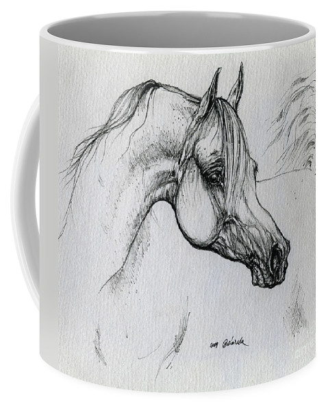 Horse Coffee Mug featuring the drawing Arabian Horse Drawing 28 by Angel Tarantella