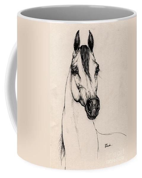 Arabian Horse Coffee Mug featuring the drawing Arabian Horse Drawing 29 by Angel Ciesniarska