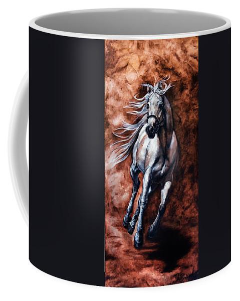 Ansatahalimshah Coffee Mug featuring the painting Arabian Purebred by Art Imago