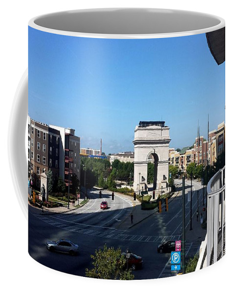 Scenic Coffee Mug featuring the photograph Arch Morning View by Kenny Glover