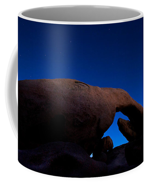 Arch Rock Coffee Mug featuring the photograph Arch Rock Starry Night by Stephen Stookey