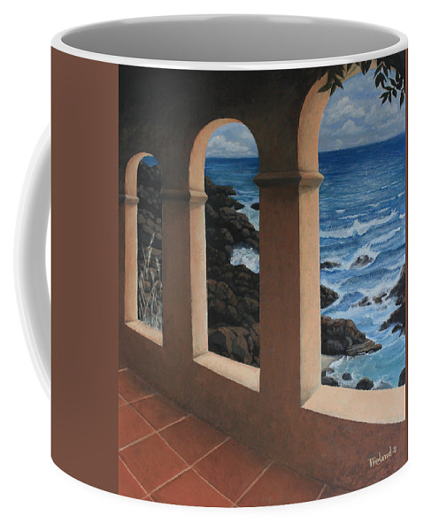 Paintings By Tracy Roland Coffee Mug featuring the painting Arches Over The Ocean by Tracy Dupuis Roland