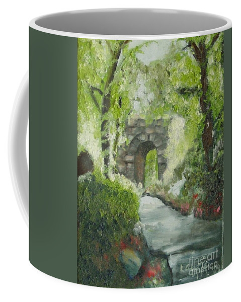 New York Coffee Mug featuring the painting Archway In Central Park by Laurie Morgan