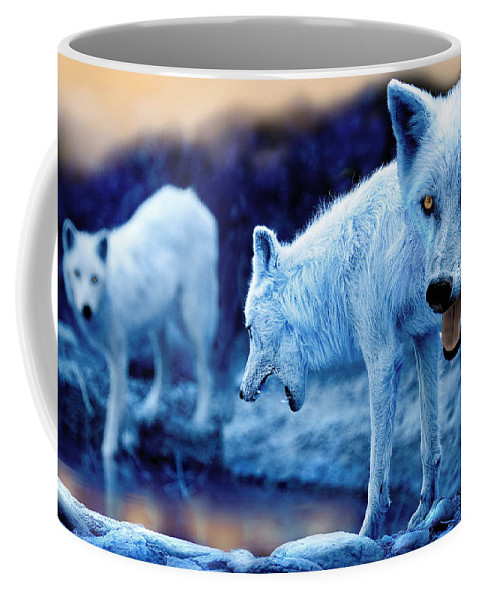 Wolf Coffee Mug featuring the photograph Arctic White Wolves by Mal Bray