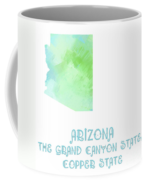 Andee Design Coffee Mug featuring the digital art Arizona - The Grand Canyon State - Copper State - Map - State Phrase - Geology by Andee Design