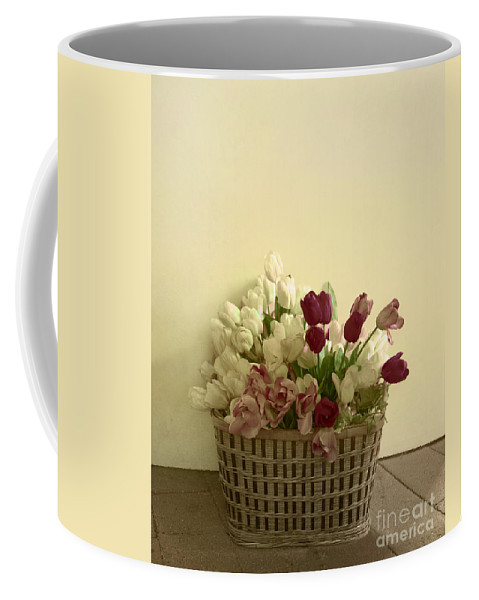 Tulips; Yellow; ; White; Red; Pink; Wall; Basket; Still Life; Flower; Floral; Color; Simplicity; Inside; Room; Floor; Calm; Indoors; Beautiful; Tranquil; Seasonal; Spring Coffee Mug featuring the photograph Arrangement by Margie Hurwich