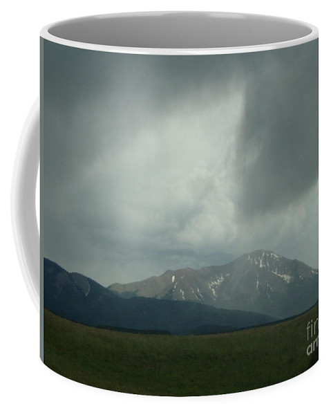Storm Cloud Photographs Canvas Prints Arrowhead Cloud Formations Rocky Mountains Colorado Sky Surreal Skyscapes Strange Skies Gray Clouds Arrow Cloud Prints Stormscape Posters Bizarre Sky Ominous Overcast Bad Weather Dark Cloud Coffee Mug featuring the photograph Arrowhead Cloud by Joshua Bales