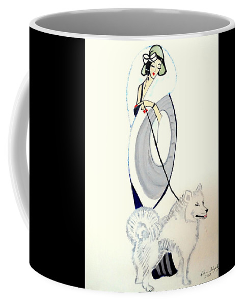 Anne Walking Dog Coffee Mug featuring the painting Anne Walking Dog by Nora Shepley
