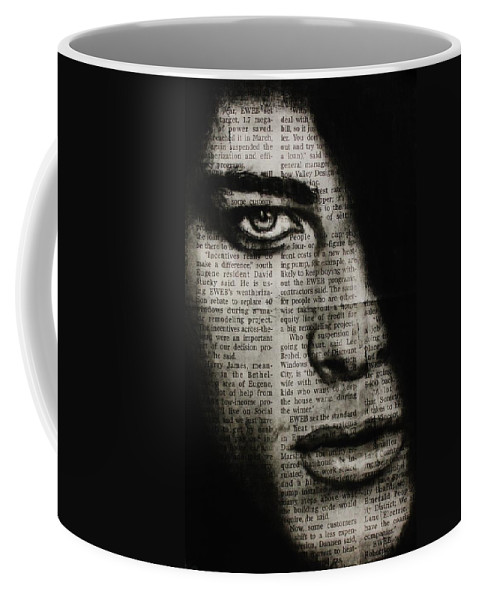 Male Coffee Mug featuring the drawing Art In The News 7 by Michael Cross