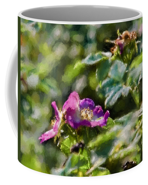 Artistic Coffee Mug featuring the photograph Artistic Painterly Two Dogroses Summer 2014. by Leif Sohlman